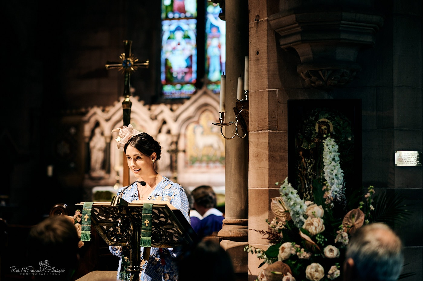 Readings from wedding guest in church service