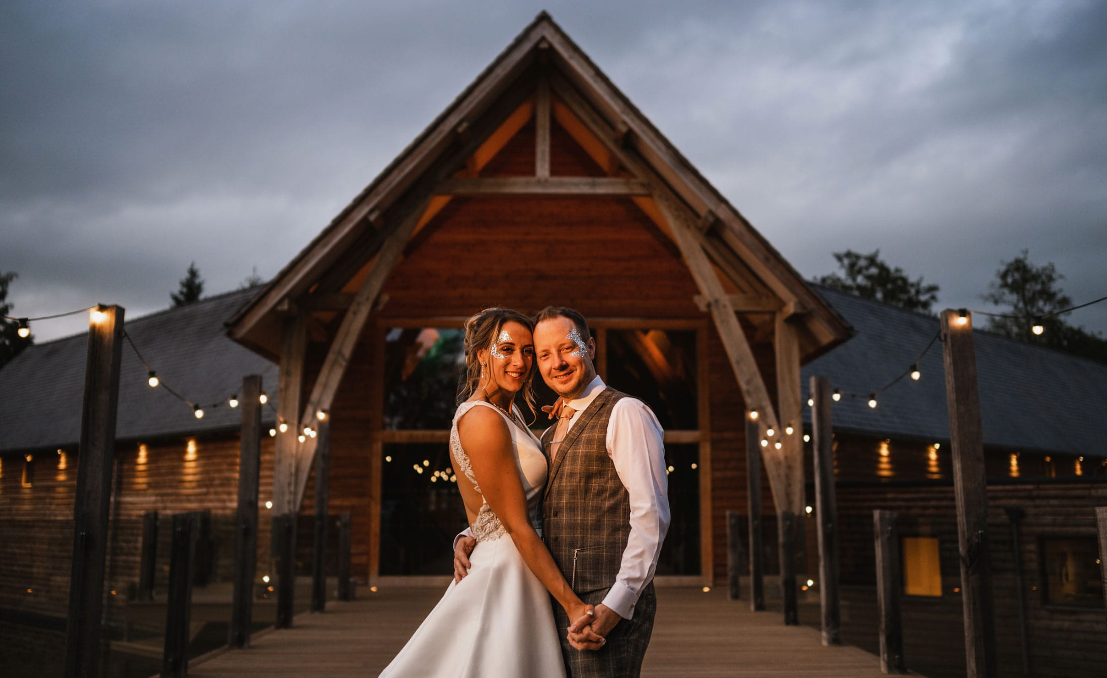 Bride & groom outside Mill Barns