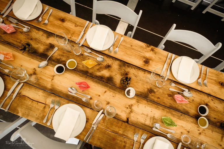 Wooden tables for wedding meal