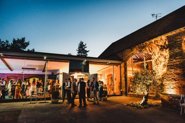 Swallows Nest Barn wedding venue at night