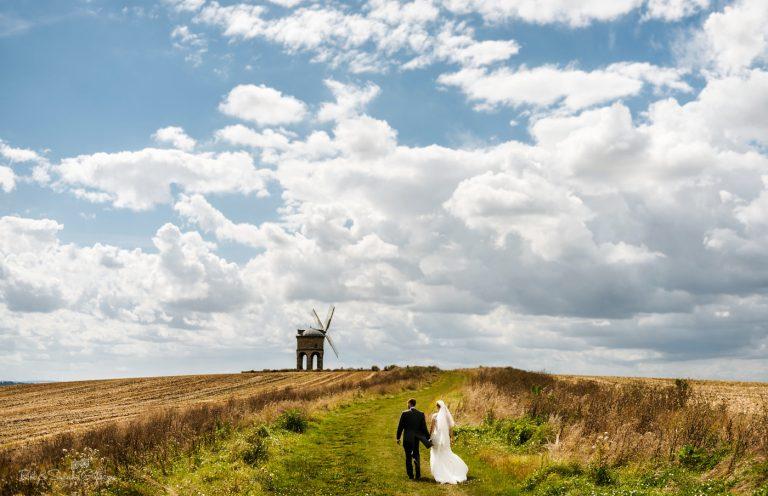 Bride and groom at Warwickshire landmark Chesterton Windmill