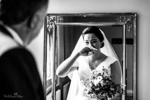 Bride emotional as dad sees her in wedding dress