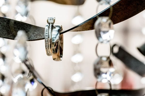 Close up detail of wedding rings