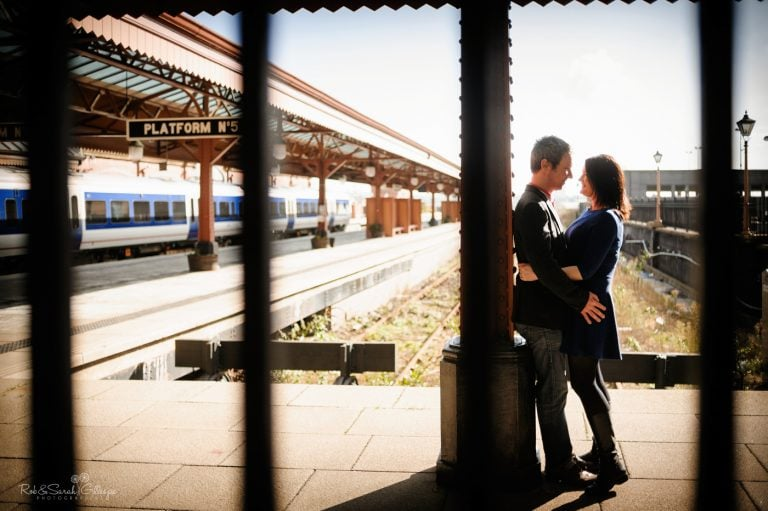 Couple photo shoot at railway station