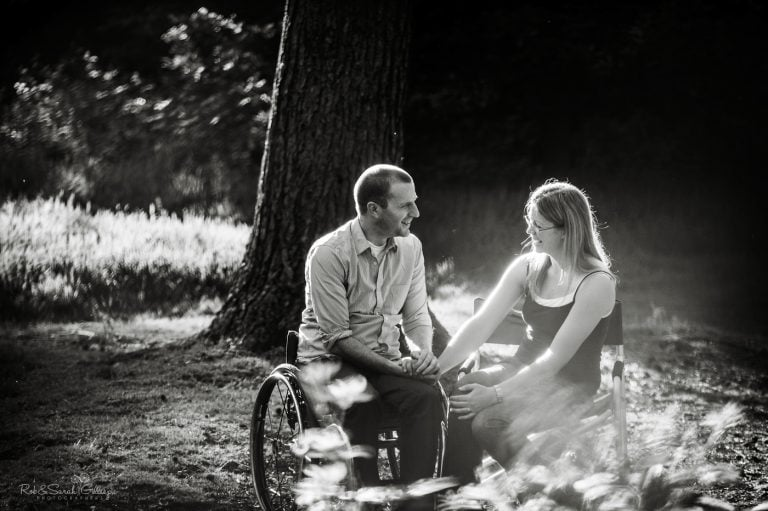 Photo shoot with couple in woodland