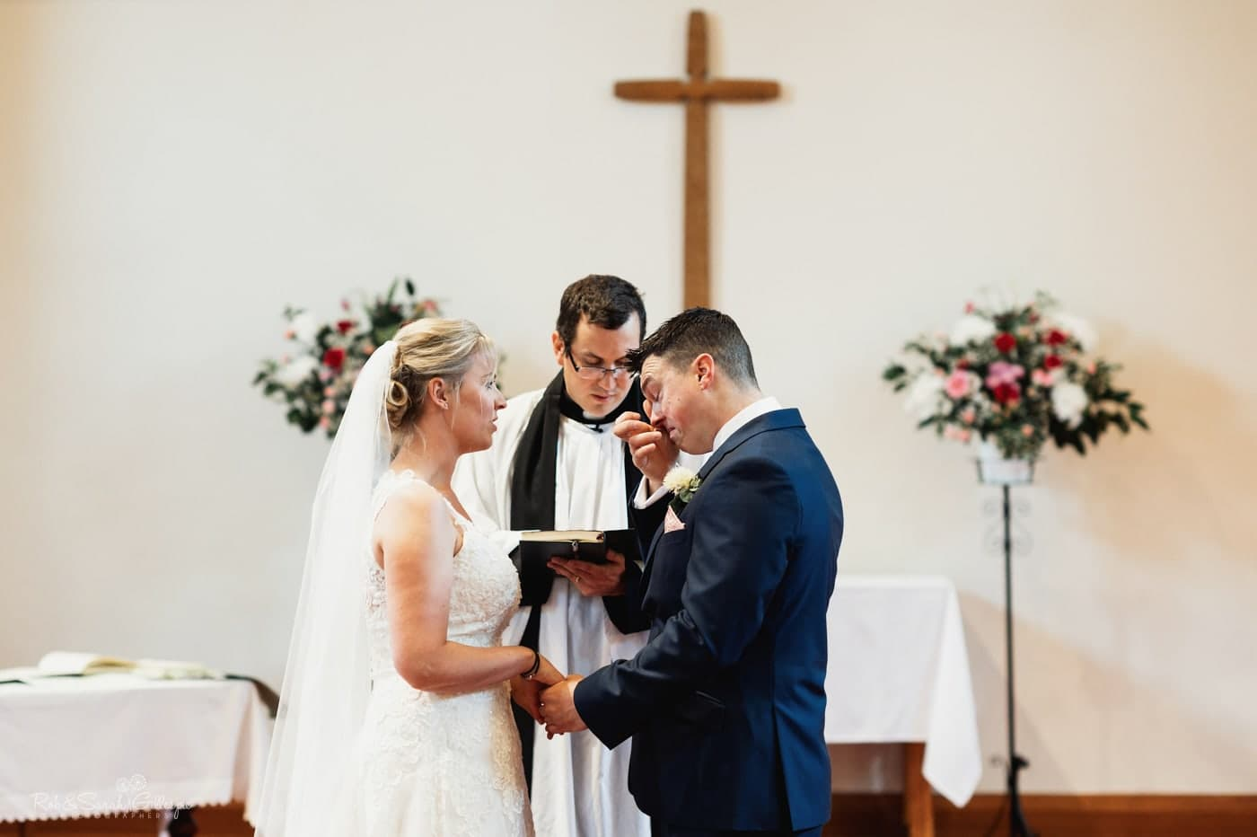 Groom emotional during wedding vows