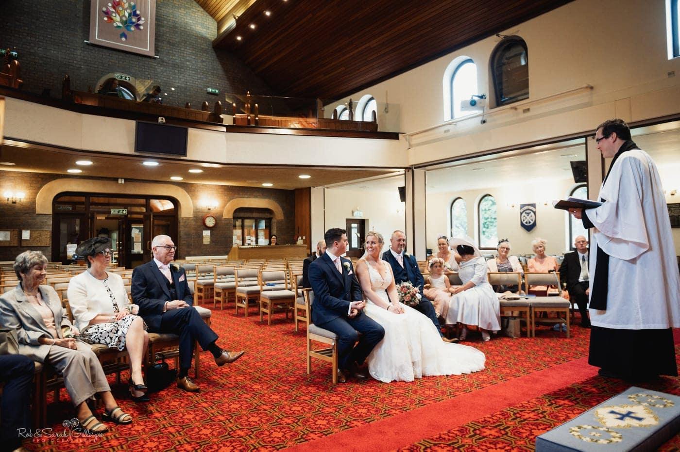 Small wedding service in church