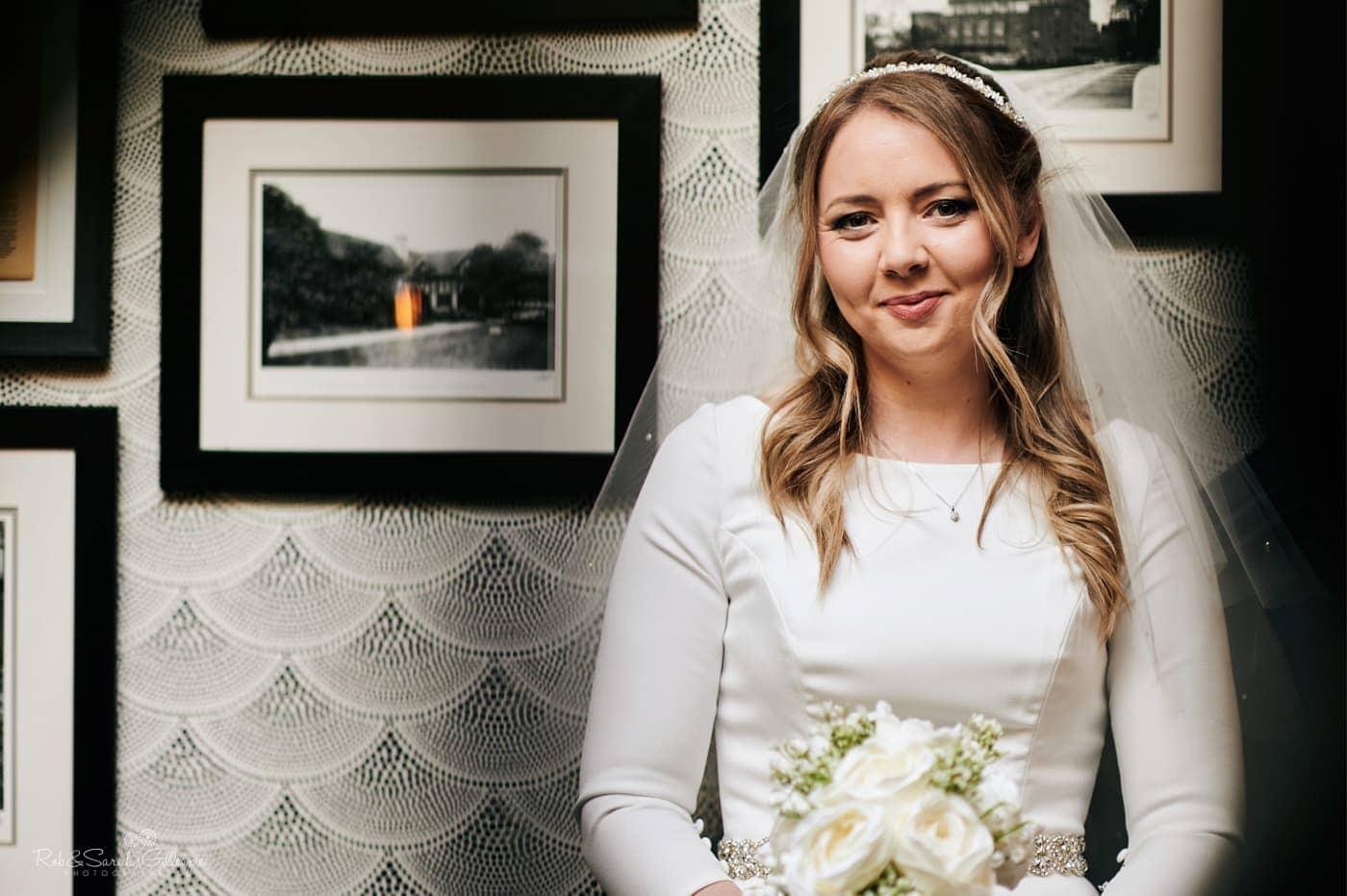 Portrait of bride smiling