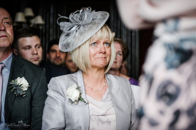Wedding guest in tears during ceremony
