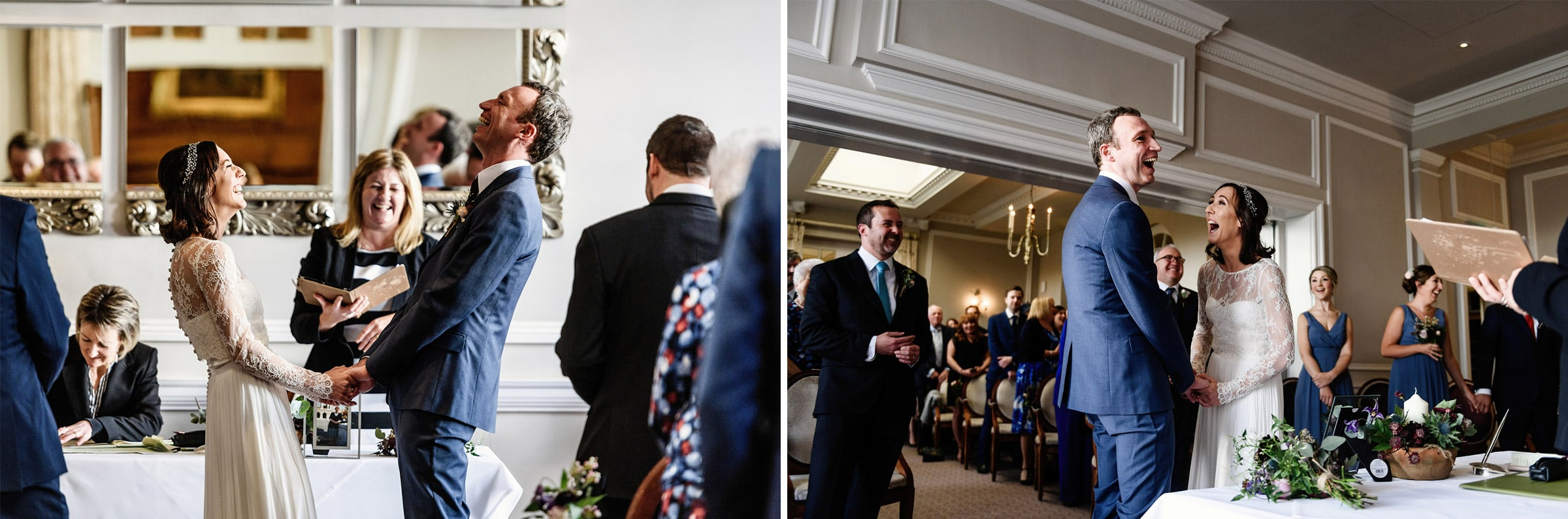 Side by side images of same moment during wedding ceremony from two different angles