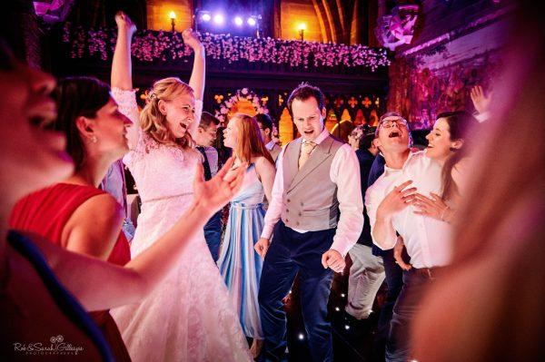 Wedding party on dancefloor