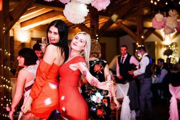 Two female dancers at wedding