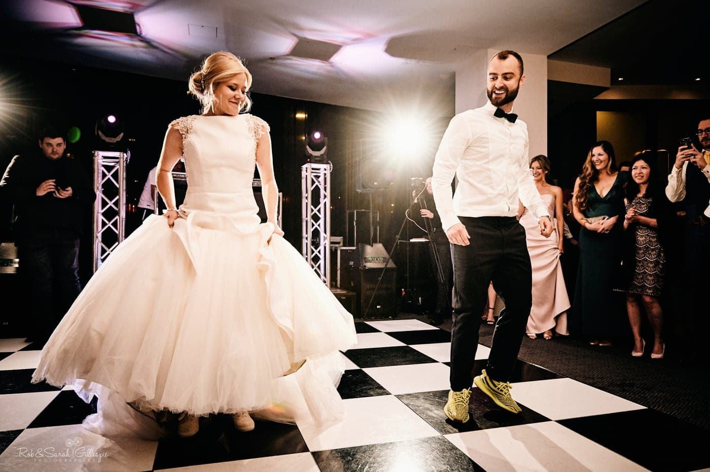 Bride and groom choreographed first dance at wedding
