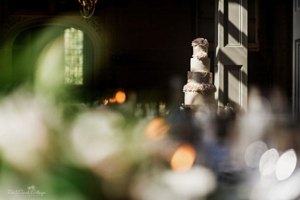 Wedding cake highlighted by strong sun