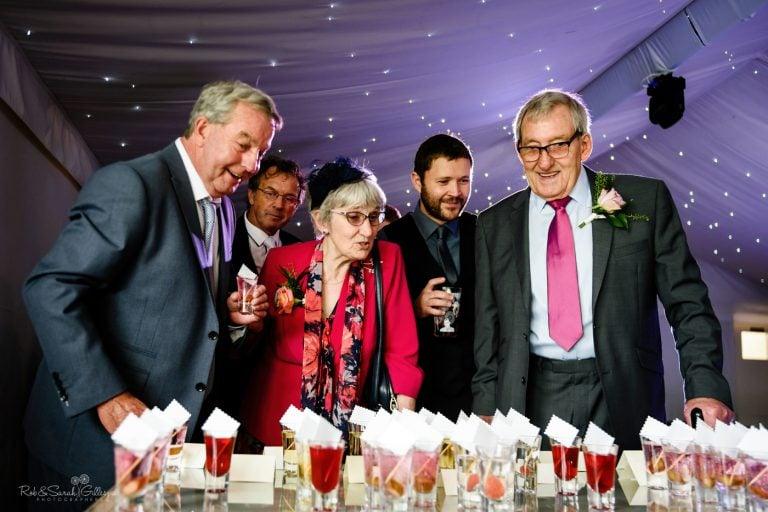 Wedding guests choose a drink