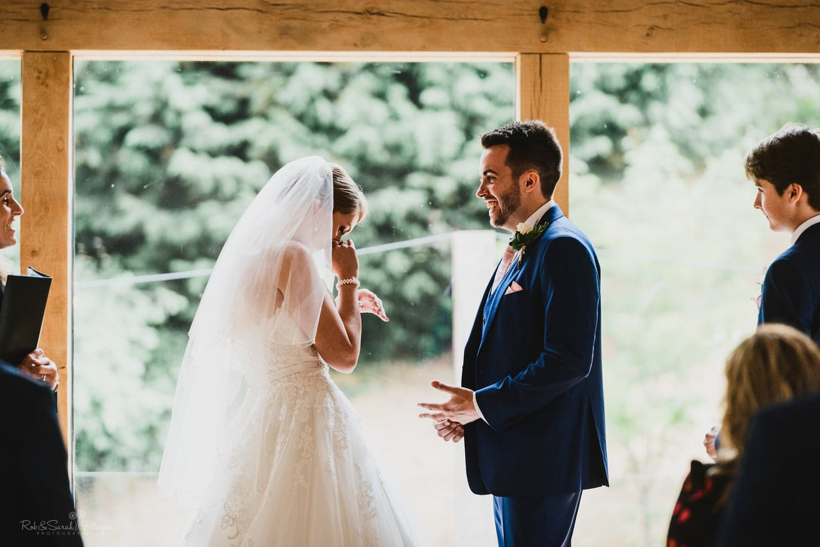 Bride gets emotional during wedding vows