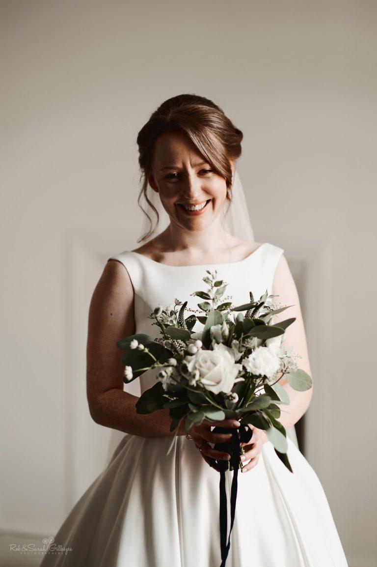 Beautiful bride smiling for portrait