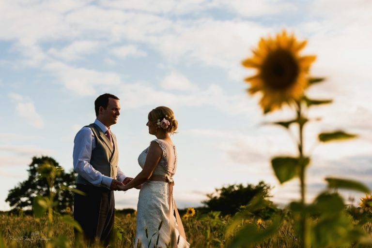 Bride and groom hold hands in sunflower field