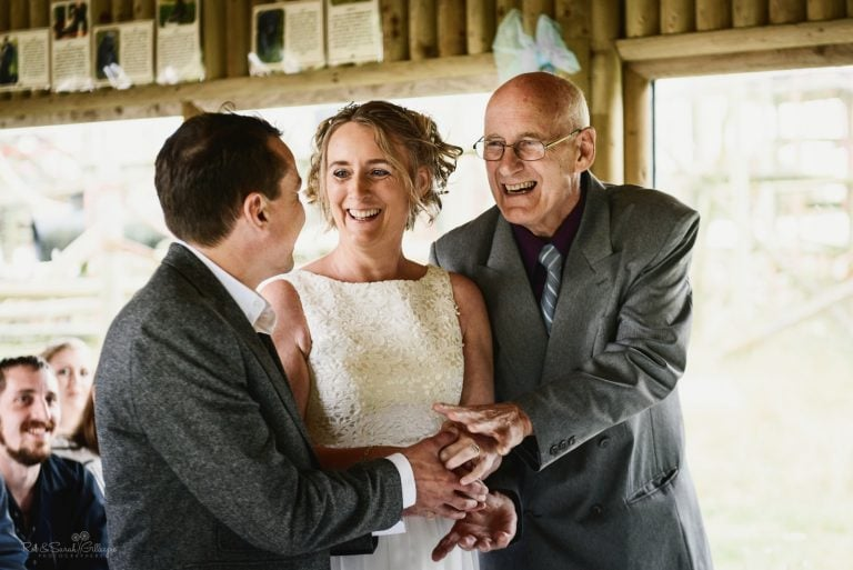 Dad gives away daughter during wedding ceremony