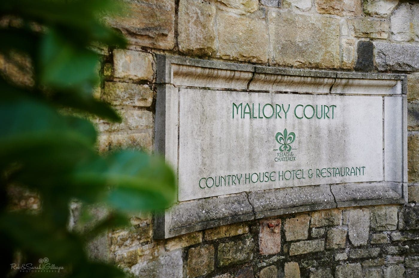 Entrance sign for Mallory Court wedding venue