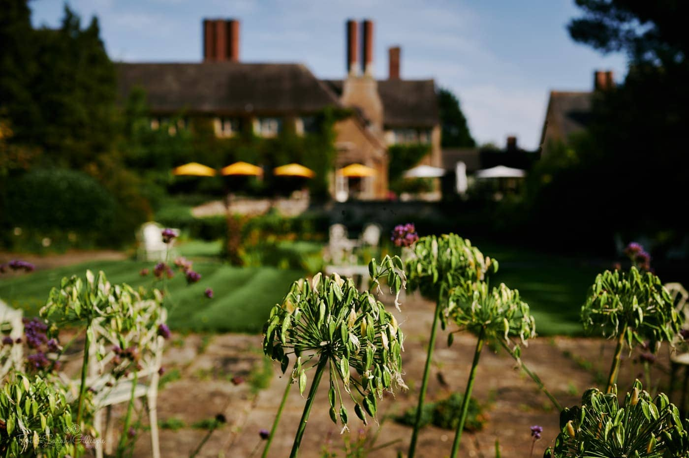 Rear of Mallory Court wedding venue with beautiful gardens