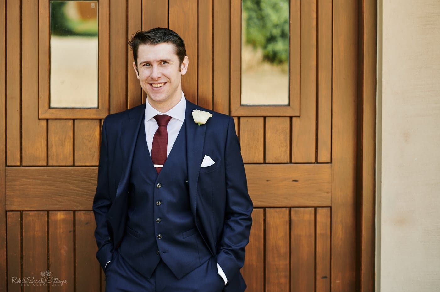 Portrait of groom at Mallory Court wedding