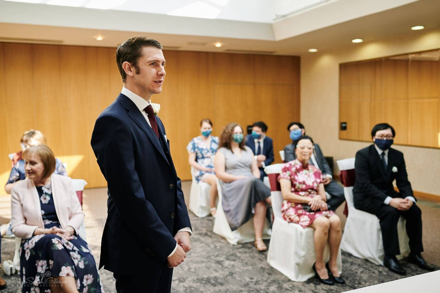 Groom waits for wedding ceremony to start at Mallory Court