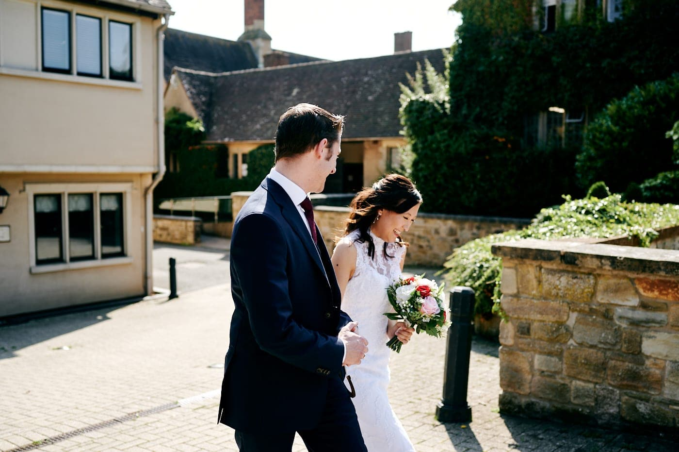 Bride and groom after small wedding ceremony at Mallory Court