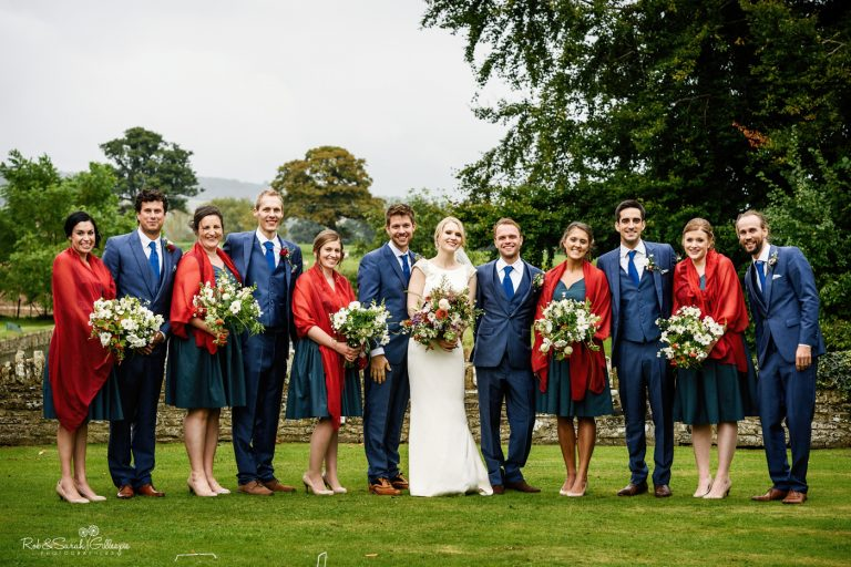 Group photo in grounds at Delbury Hall of bridal party