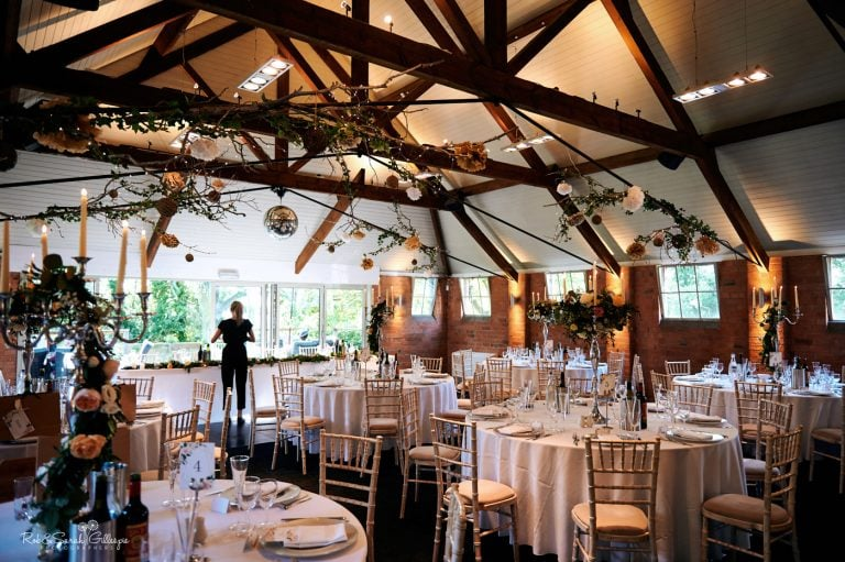 Barn at Gorcott Hall set up ready for wedding meal