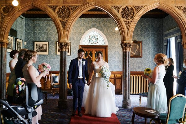 Bride and groom during wedding ceremony at Highbury Hall