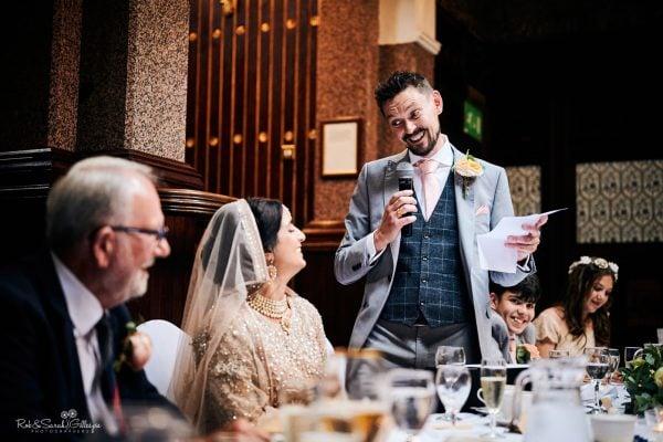 Groom gives wedding speech at Highbury Hall