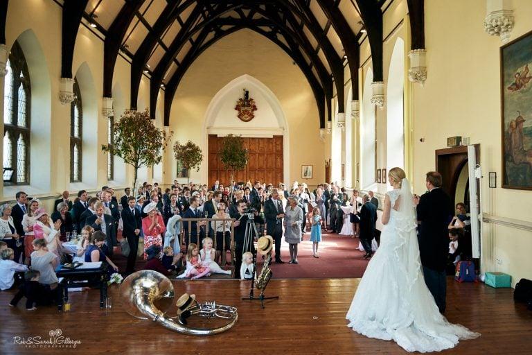 Wedding speeches in Big School room at Malvern College