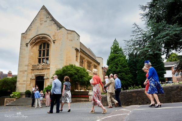 Wedding guest arrive at Malvern College Memorial Library