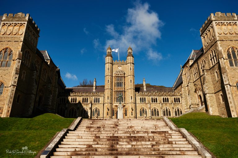 Front view of Malvern College with steps leading up