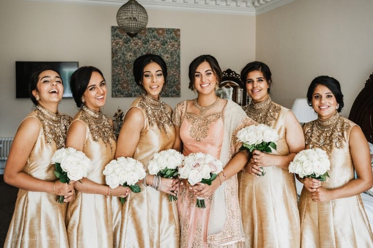 Bride and bridesmaids in Indian dresses