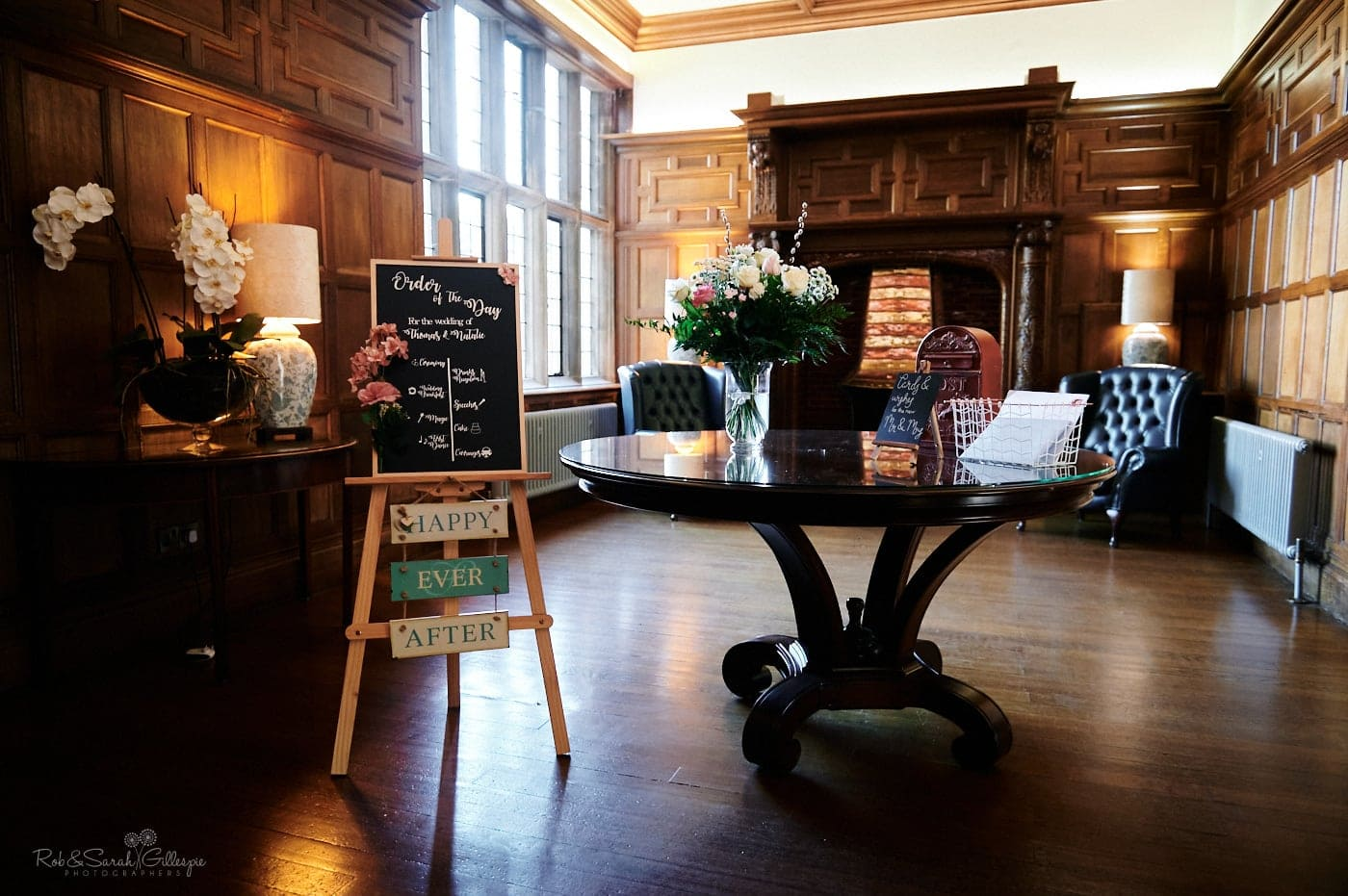 Interior of Pendrall Hall set up for wedding day