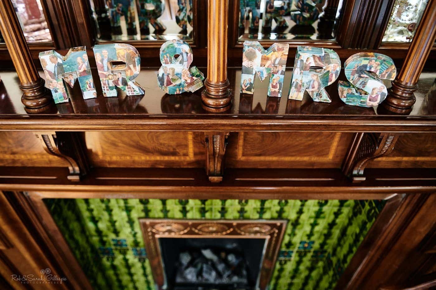 Mr & Mrs handmade sign on wooden fireplace