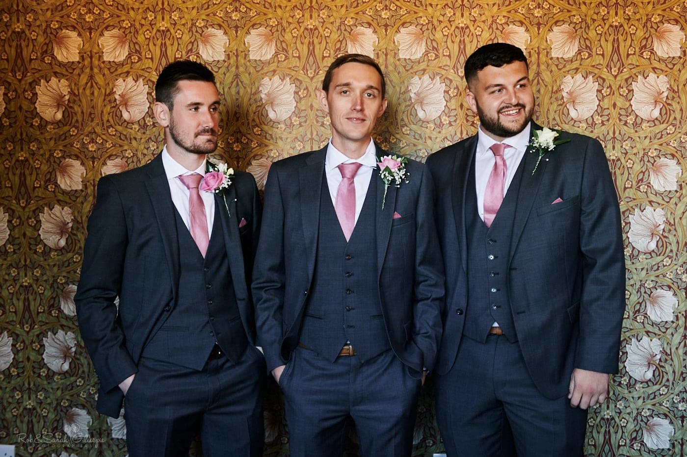 Group photo of groom and groomsmen in Pimpernel Suite at Pendrell Hall