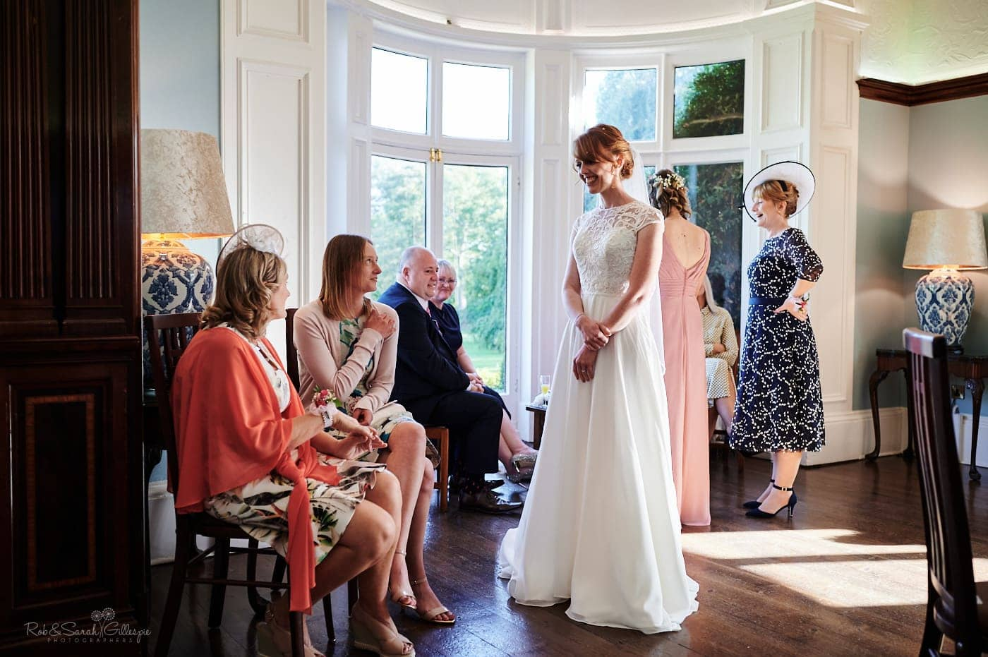 Bride chats with wedding guests
