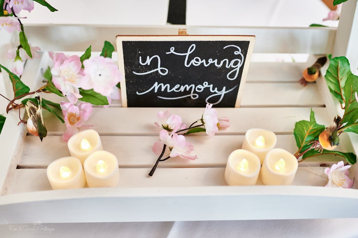 In Loving Memory chalkboard and candles
