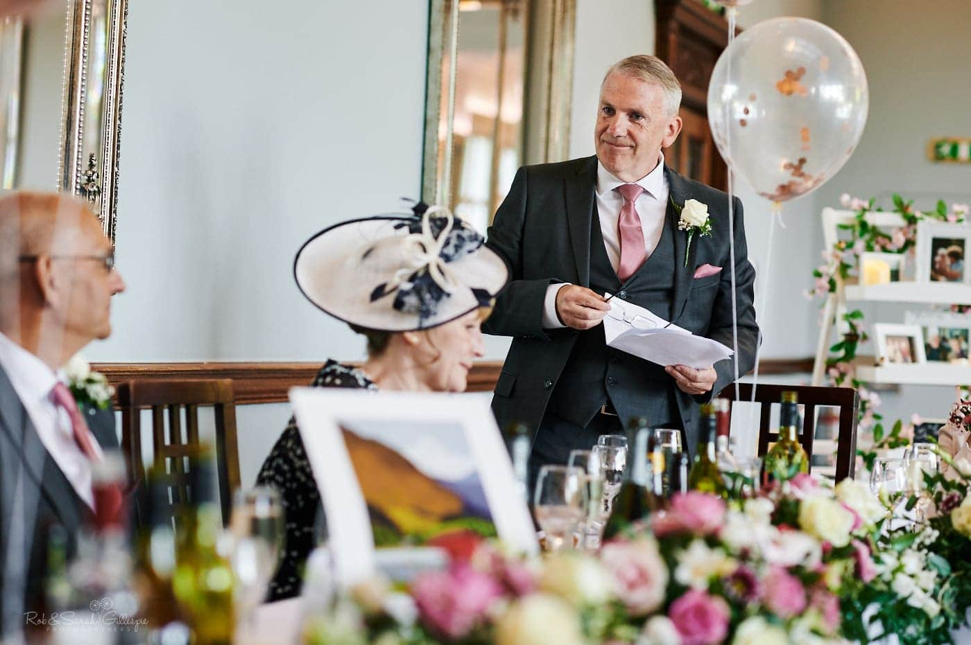 Speeches at small wedding in Ballroom at Pendrell Hall