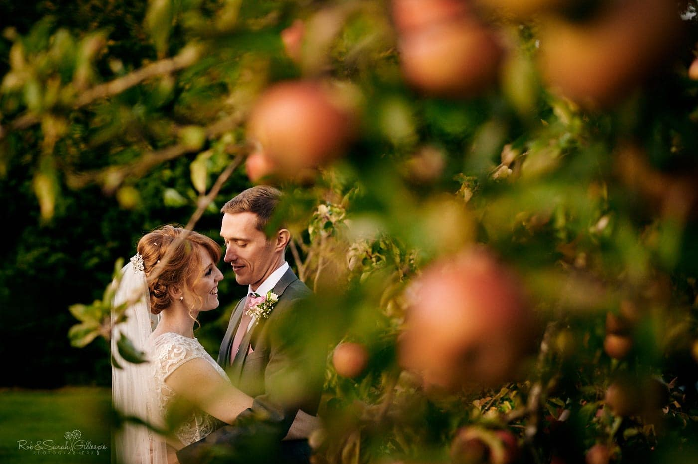 Bride and groom surrounded by apple trees