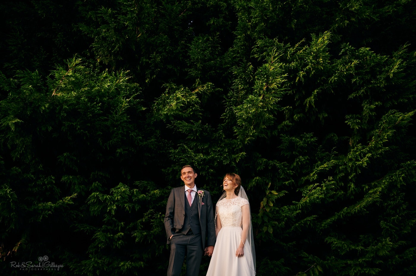 Bride and groom laughing together in front of evergreen trees