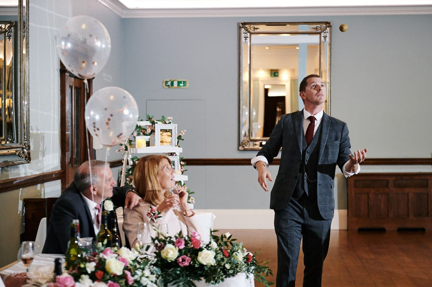 Magician performs for wedding party in Ballroom at Pendrell Hall