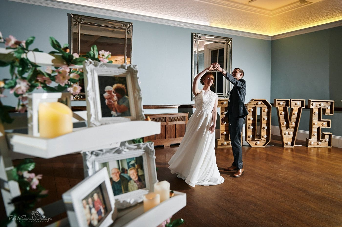 Bride and groom first dance in Ballroom at Pendrell Hall
