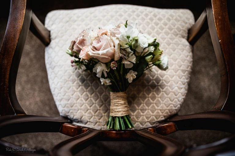 Bridal bouquet on chair at Pendrell Hall