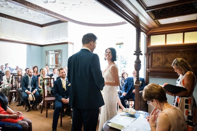 Wedding ceremony in Morning Room at Pendrell Hall