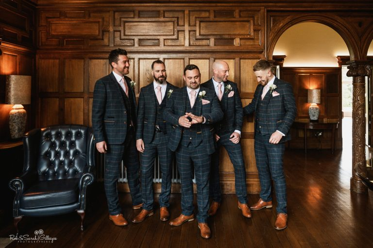 Groomsmen in suits ready for wedding at Pendrell Hall