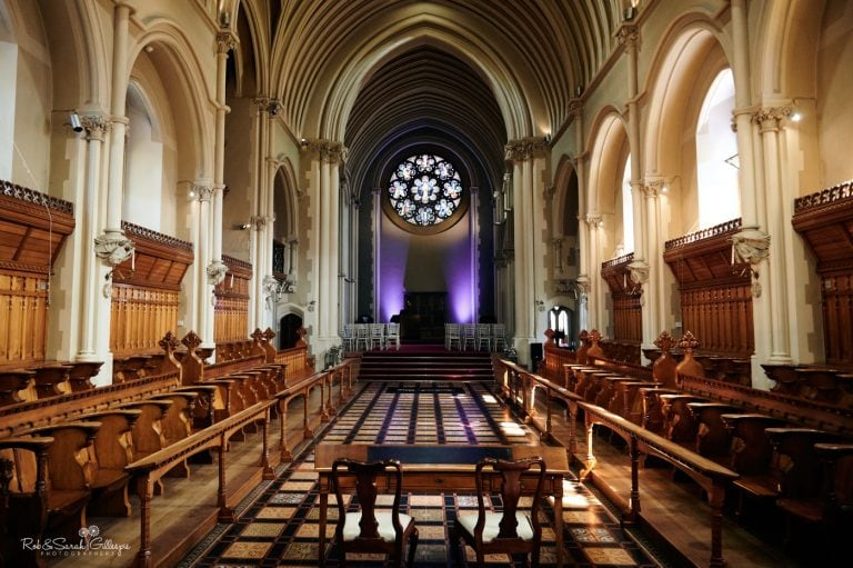 View from the front of Callow Great Hall at Stanbrook Abbey showing beautiful stained glass window